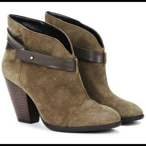 Rag & Bone Harrow Suede Booties Olive Size 10